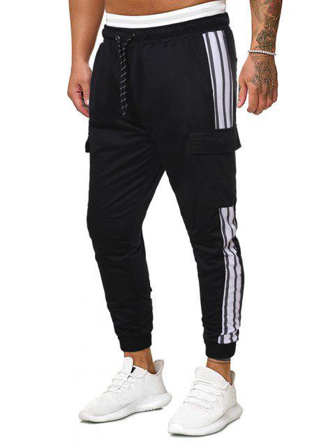 Pantalones Rayados Estampado Bota Pie Estrecho - Negro XL Mobile