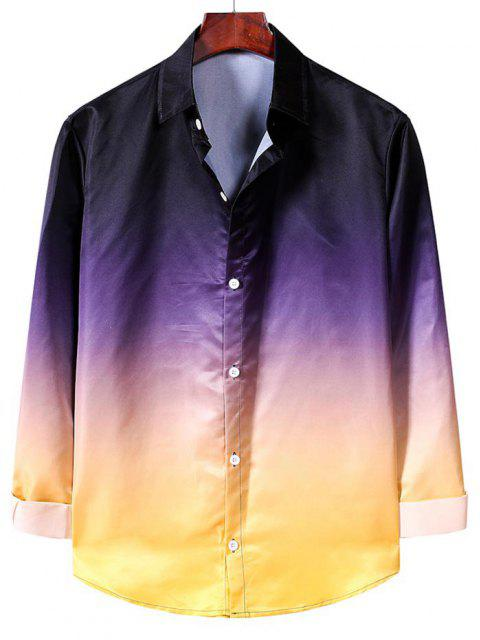 trendy Ombre Print Long Sleeve Casual Shirt - MULTI-A M Mobile