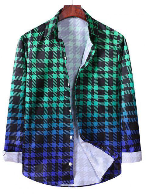 fashion Ombre Checkered Pattern Long Sleeve Shirt - MEDIUM SEA GREEN M Mobile