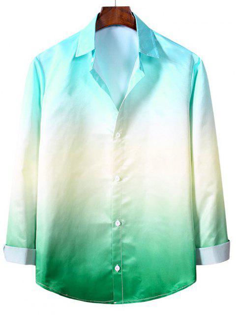 オンブルは長袖カジュアルシャツ - ミディアムターコイズ XL Mobile