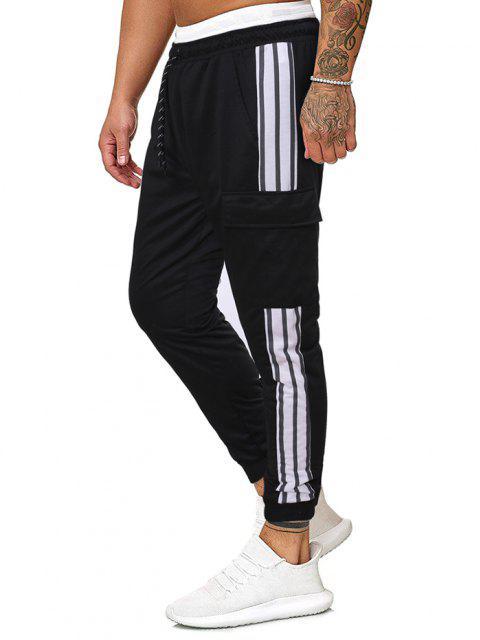 Pantalones Rayados Estampado Bota Pie Estrecho - Negro M Mobile