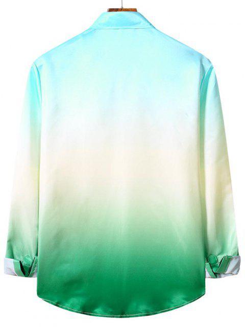 Chemise Décontractée Ombrée Imprimée à Manches Longues - Turquoise Moyenne  M Mobile