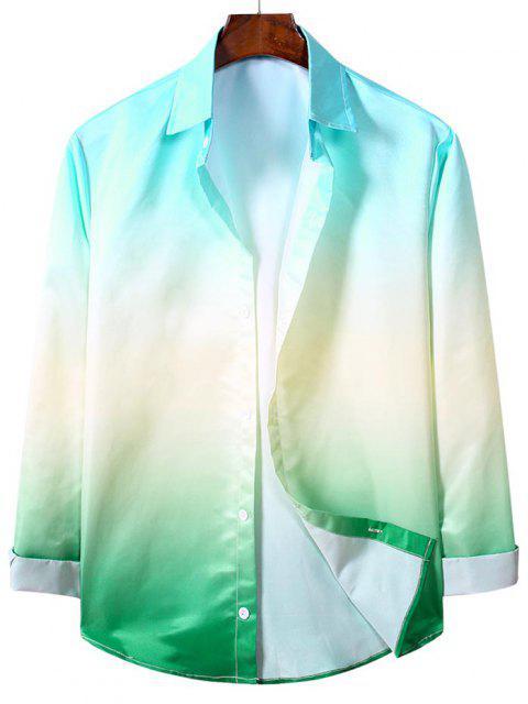 Camicia Casuale di Ombre con Maniche Lunghe - Turchese Medio S Mobile