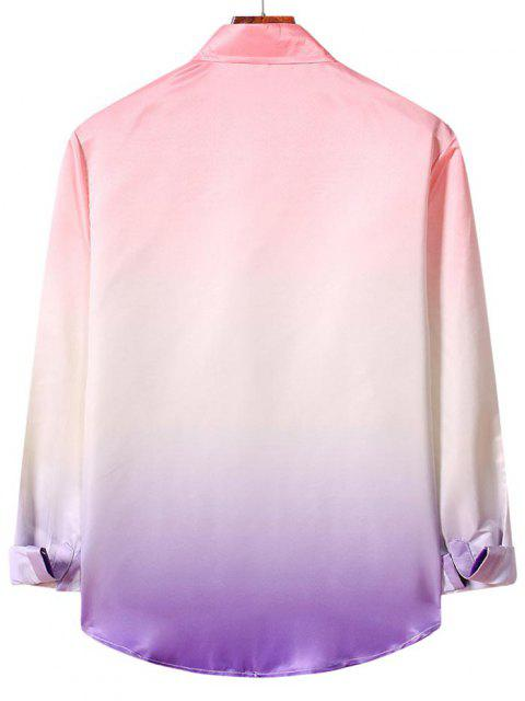 women's Ombre Print Long Sleeve Casual Shirt - FLAMINGO PINK 2XL Mobile