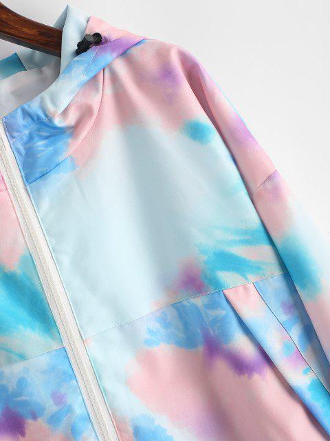 Kapuze Krawattenfärbender Hängender Schulter Tunnelzug Jacke - Blau S Mobile