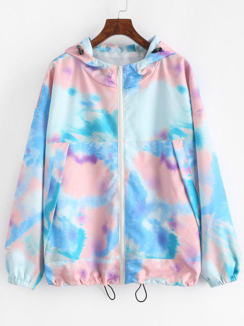 Hooded Tie Dye Drop Shoulder Toggle Drawstring Jacket - أزرق S Mobile