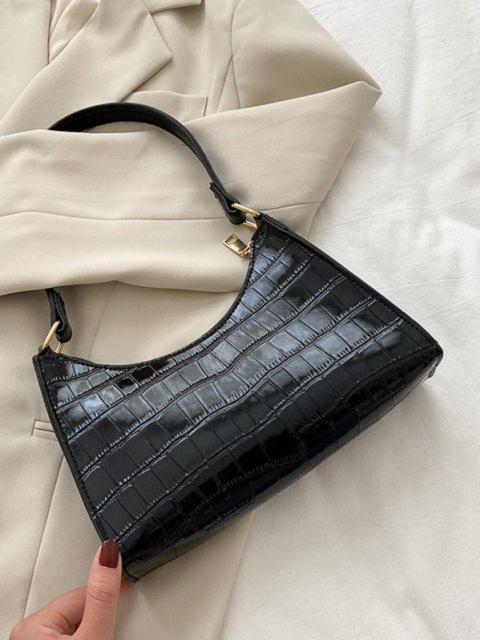 latest Textured Patent Leather Shoulder Bag - BLACK  Mobile