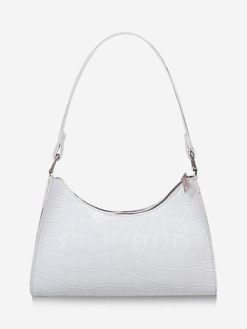 trendy Textured Patent Leather Shoulder Bag - WHITE  Mobile