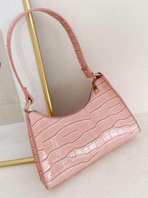chic Textured Patent Leather Shoulder Bag - LIGHT PINK  Mobile