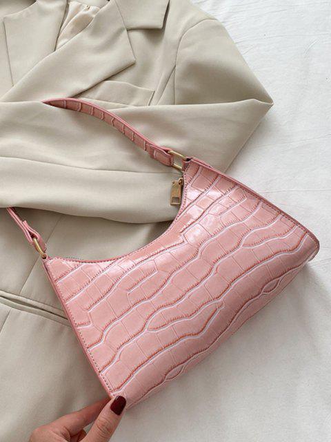 Sac à Bandoulière en Cuir Verni Texturé - Rose clair  Mobile