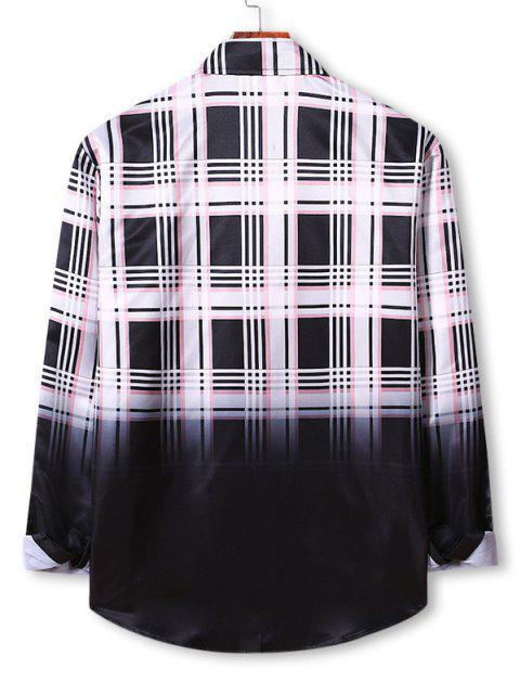 タータンチェックオンブル印刷ボタンアップシャツ - 白 XL Mobile