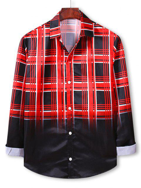 Chemise Boutonnée à Carreaux Ombrée Imprimée - Rouge Lave S Mobile