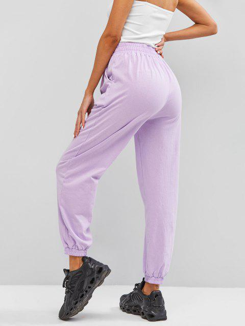 fancy ZAFUL Pockets Dragon Oriental Jogger Sweatpants - LIGHT PURPLE L Mobile