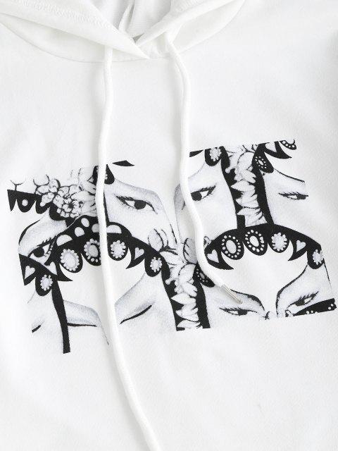 fancy Drawstring Peking Opera Face Oriental Crop Hoodie - WHITE S Mobile