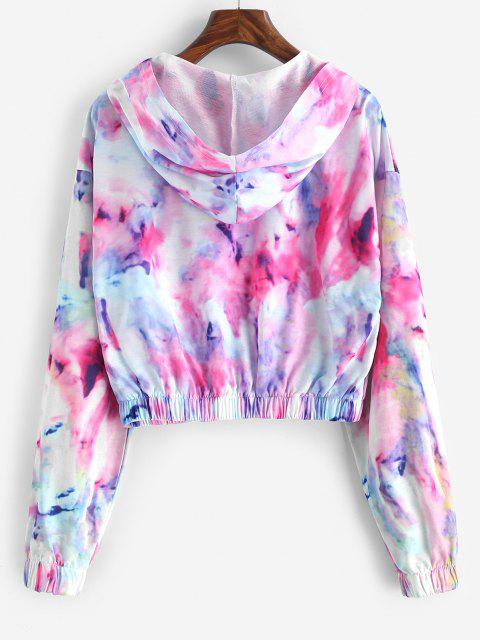 Tie Dye Zip Up Cropped Hooded Jacket - متعدد S Mobile