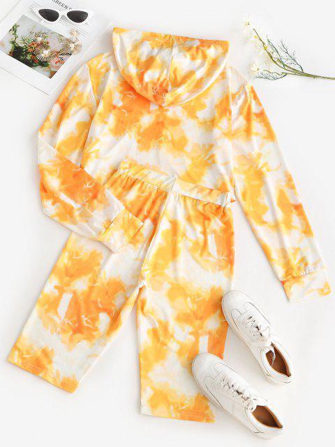 Cycling Tie Dye Two Piece Shorts Set - الأصفر S Mobile