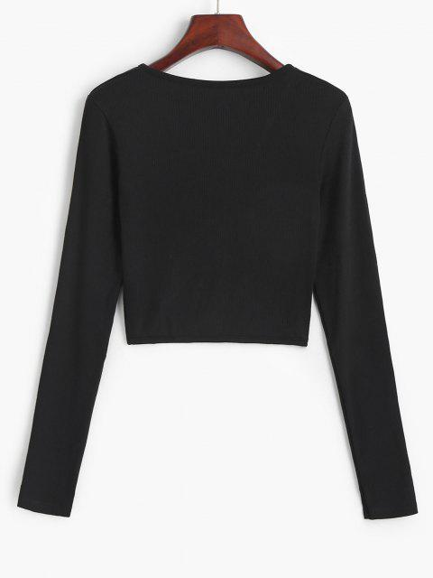 hot Twist Front Ribbed Cropped Knitwear - BLACK S Mobile