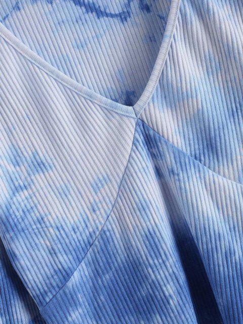 online Ribbed Tie Dye Long Sleeve Top - BLUE S Mobile