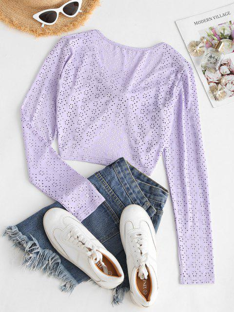 lady Eyelet Tie Front Crop Blouse - LIGHT PURPLE M Mobile