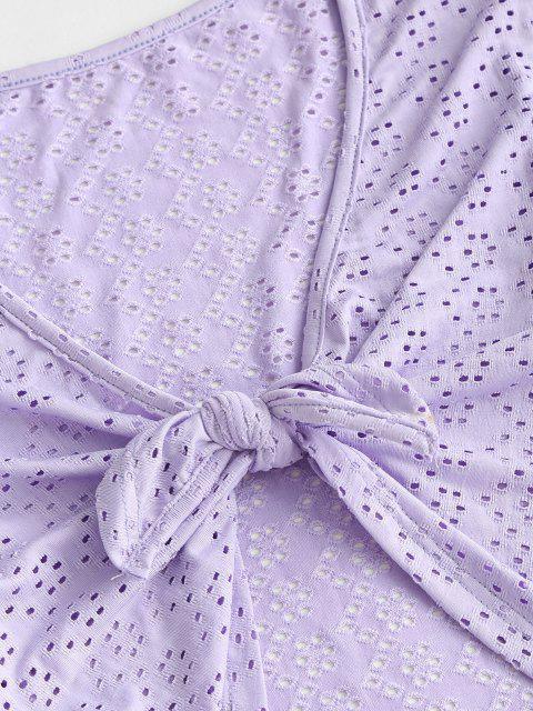 lady Eyelet Tie Front Crop Blouse - LIGHT PURPLE M Mobile