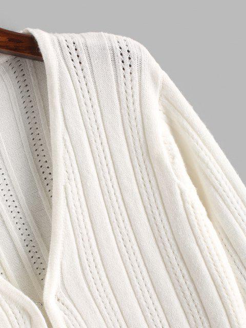Cardigã de Racha mangas compridas com micro laço - Branco Um Tamanho Mobile