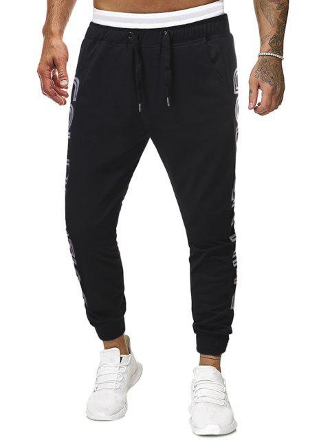 Pantalones Deportivos Estampado Letras Dorado y Cordones - Negro M Mobile