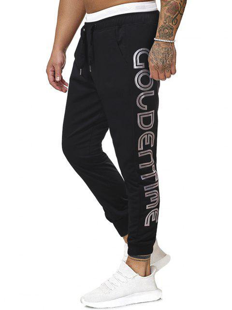 Pantalones Deportivos Estampado Letras Dorado y Cordones - Negro 2XL Mobile