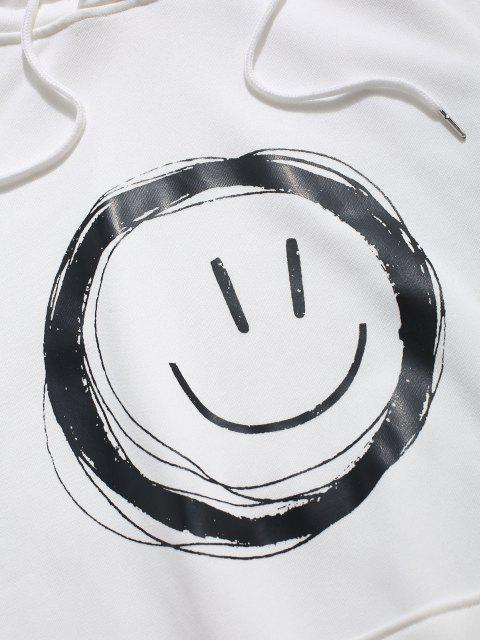 sale Lounge Smiley Face Graphic Pouch Pocket Hoodie - WHITE L Mobile