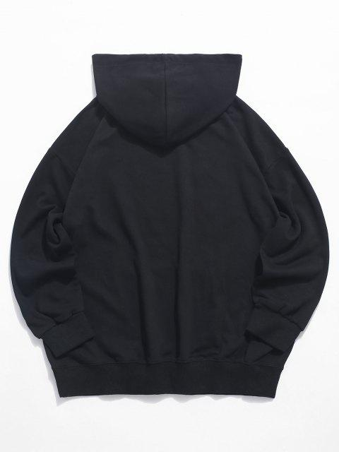Sweat à CapucheDécontractéGraphique Visage Souriant avec Poche Jointive - Noir XL Mobile