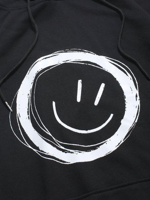 new Lounge Smiley Face Graphic Pouch Pocket Hoodie - BLACK 4XL Mobile
