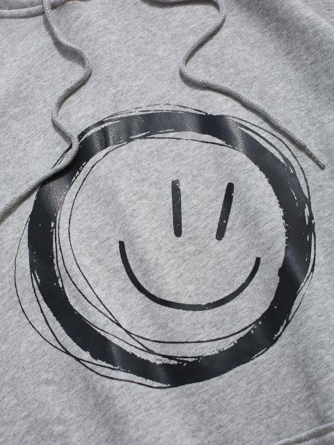 Sweat à CapucheDécontractéGraphique Visage Souriant avec Poche Jointive - Gris Clair XL Mobile