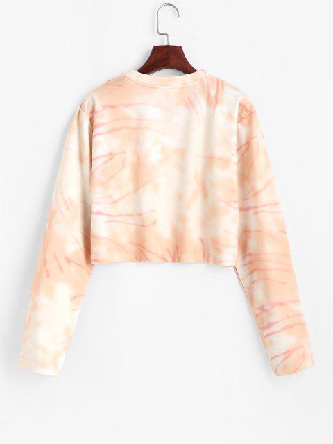 sale Cropped Tie Dye Pullover Sweatshirt - LIGHT PINK M Mobile