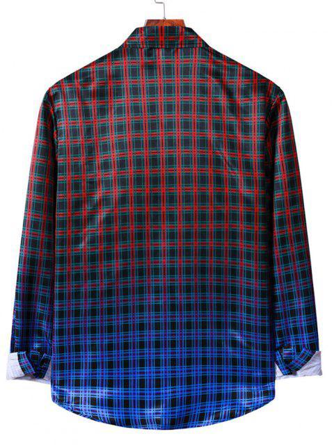 ボタン付きオンブルチェック柄印刷長袖シャツ - ブラック XL Mobile
