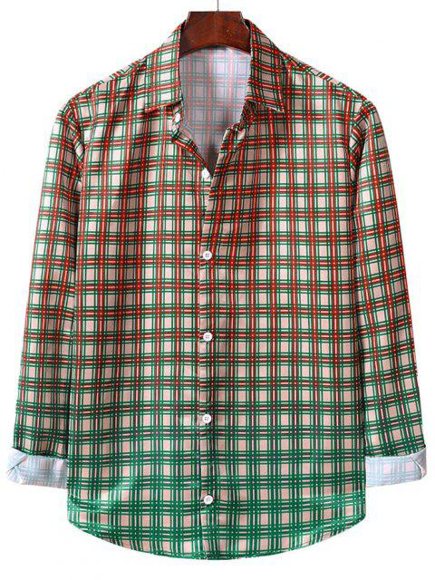 women's Button Up Ombre Plaid Print Long Sleeve Shirt - BLANCHED ALMOND L Mobile