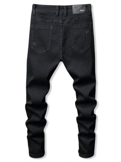 Jeans de Lápiz de Flores con Cremallera y Letras - Negro 32 Mobile