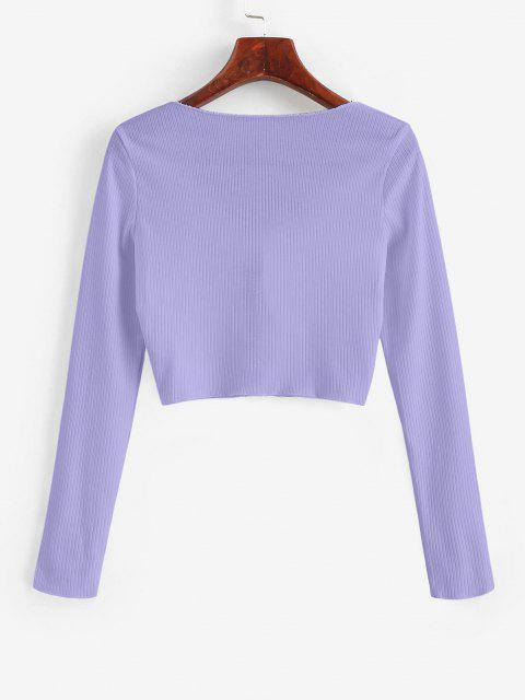 sale Ribbed Tie Front Cropped Tee - LIGHT PURPLE S Mobile