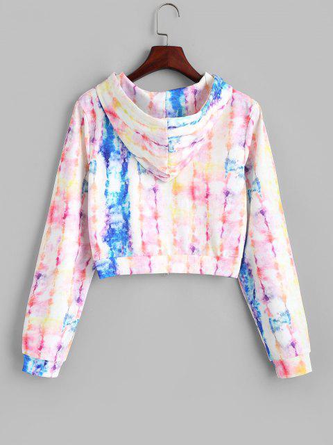 shops Full Zip Tie Dye Cropped Hoodie - MULTI M Mobile