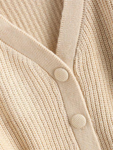 hot Drop Shoulder V Neck Button Up Cardigan - LIGHT COFFEE ONE SIZE Mobile