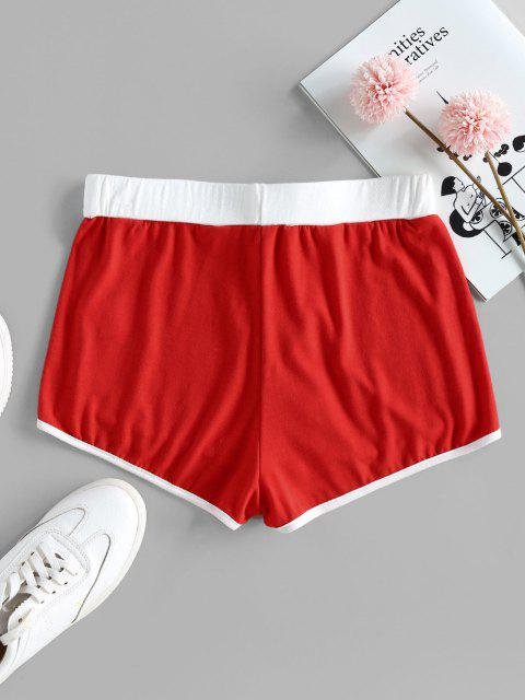 lady ZAFUL Marled High Rise Dolphin Shorts - RED S Mobile