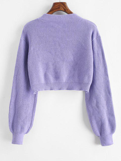 online ZAFUL Button Up Bowknot Sequins Cropped Cardigan - PURPLE L Mobile