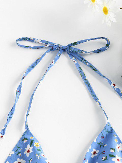 ZAFUL Haut Fleuri Imprimé à Col Halter à Volants - Bleu Ciel Léger  XL Mobile