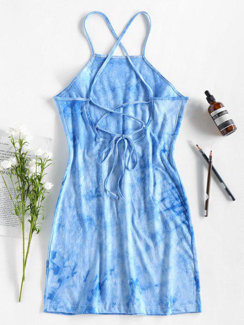 ZAFUL Krawattenfärbender Mini Enges Kleid mit Schnürung - Himmelblau M Mobile