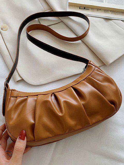 sale Pleated Solid Shoulder Bag - COFFEE  Mobile