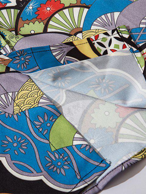 sale Floral Fan Pattern Oriental Shirt - COBALT BLUE S Mobile