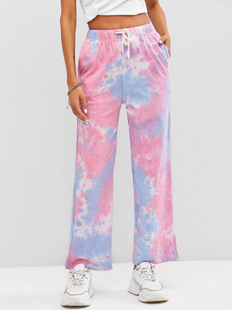 trendy Drawstring Wide Leg Tie Dye Pants - MULTI-A ONE SIZE Mobile
