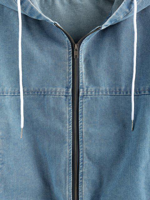 lady ZAFUL Drawstring Hooded Denim Jacket - BLUE M Mobile