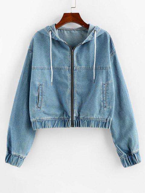 ZAFUL Drawstring Hooded Denim Jacket - أزرق S Mobile