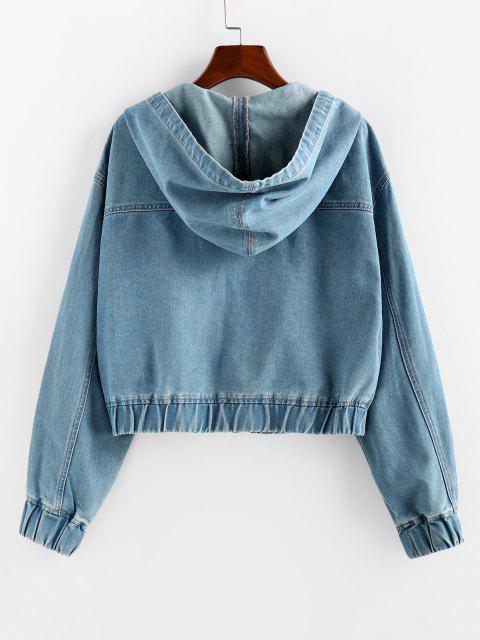 chic ZAFUL Drawstring Hooded Denim Jacket - BLUE S Mobile