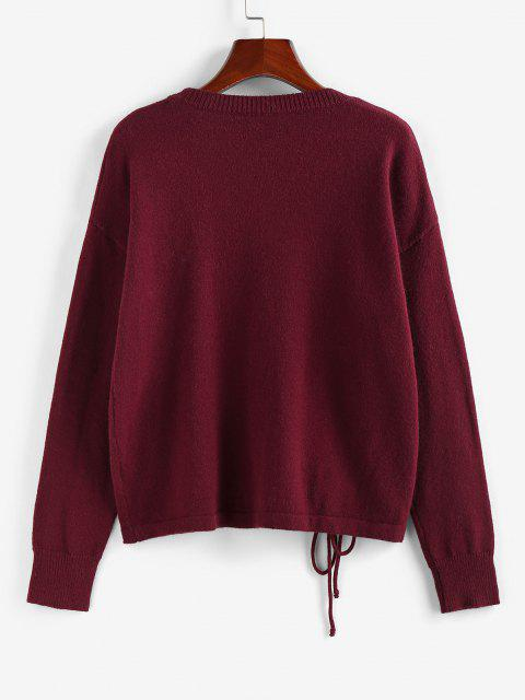 trendy ZAFUL Drop Shoulder Cinched Sweater - DEEP RED S Mobile