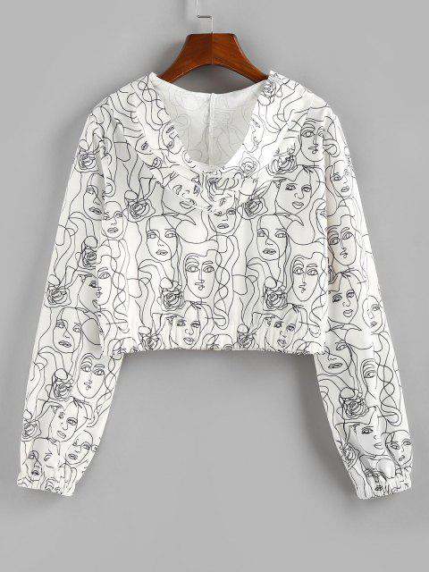 ZAFUL Hooded Face Sketch Print Crop Jacket - أبيض S Mobile